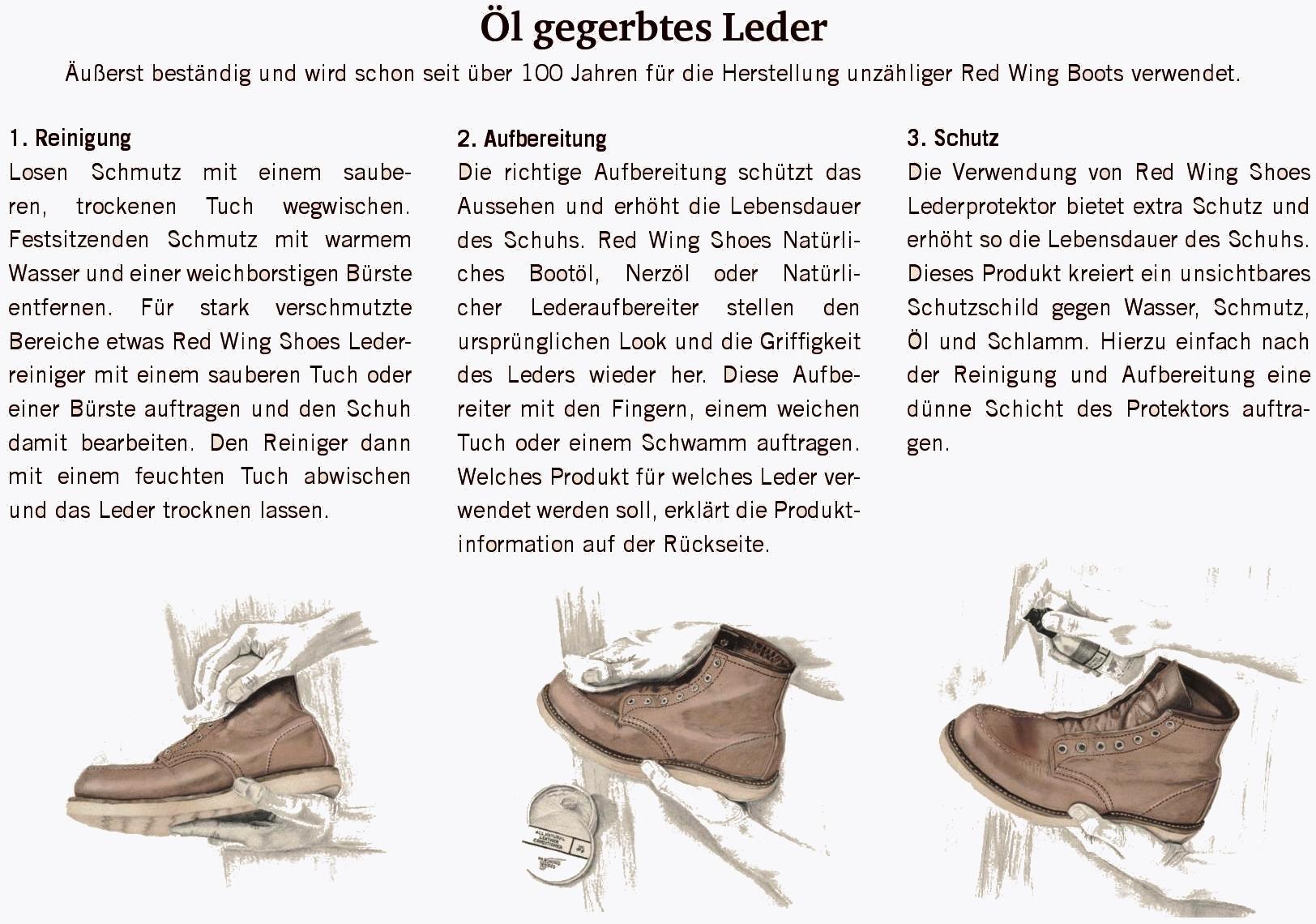 Red Wing Lederpflege für Oil-Tanned (Öl gegerbte) Lederstiefel.
